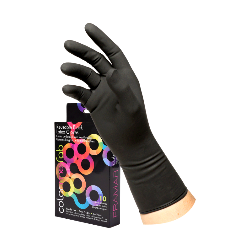 ^Framar RLG-65-10PC Black Latex Gloves 6