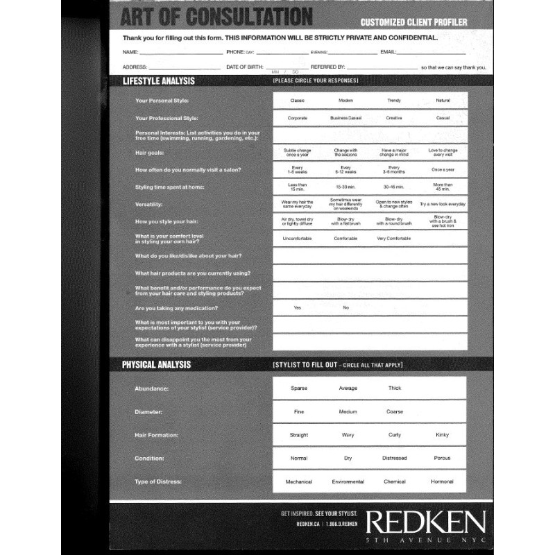 Redken Art of Consultation Client Profil