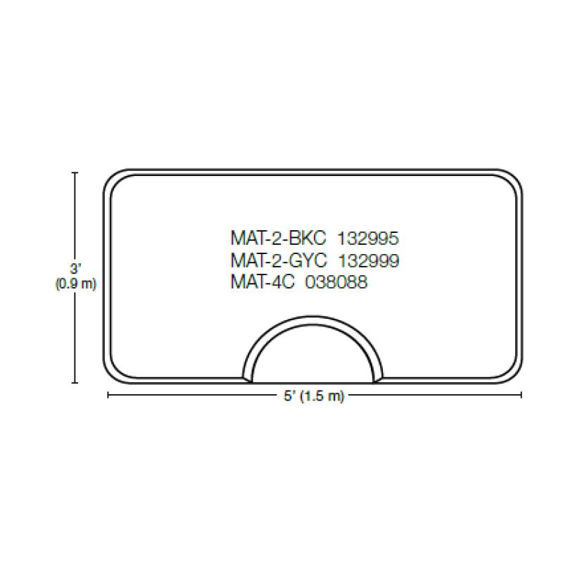 Dannyco MAT-4C Rectangular Salon Mat Bla