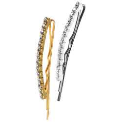 BESCYSPIN4UCC Crystal Silver Gold Bobby Pin (4) LE